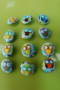 Lined buttons with cloth. Mini owls multicolor