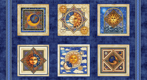 Patchwork Panel Celestial Sun. Squares moon and sun. 61x110cm.
