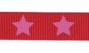 Nastro Gros Grain 16mm Stelle Su Sfondo Rosso Jejoma Mercería