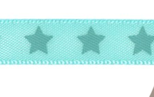 Satin bow 9mm. Stars on turquoise background.