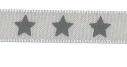 Satin bow 9mm. Stars on grey background.