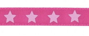 Satin bow 9mm. Stars on pink background.