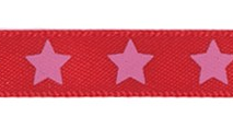 Satin bow 9mm. Stars on red background.