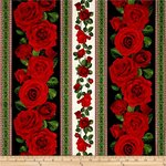 GLAMOUR. Tessuto patchwork di rose rosse.