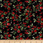 GLAMOUR. Minis red roses in black. Patchwork fabric.