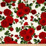 GLAMOUR. Red Roses in beige. Patchwork fabric.