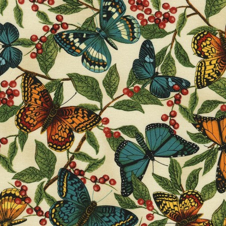 ZEN. Multicolored butterflies on beige background in patchwork fabric.