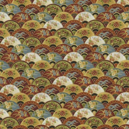 ZEN. Multicolored fans on beige background in patchwork fabric.