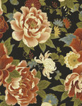 ZEN. Flowers and roses in black background in patchwork fabric.