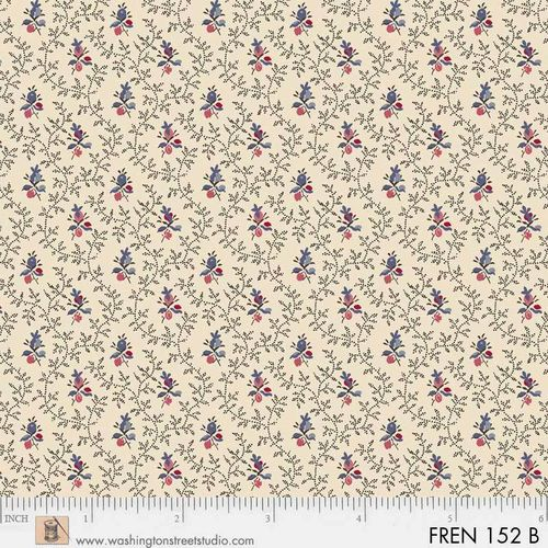 FRENCH PAISLEY. Mini flowers in beige.