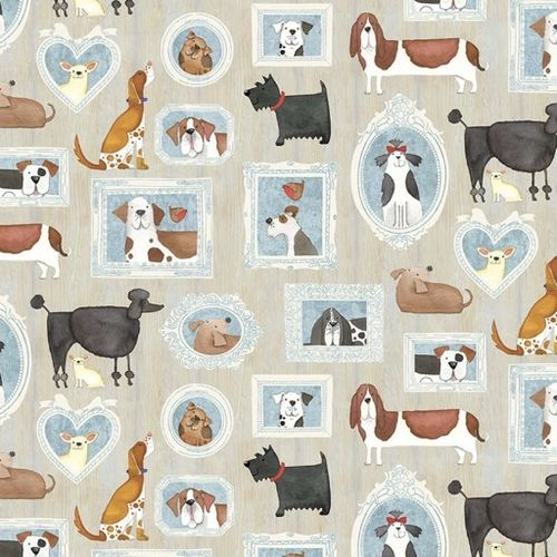 YOU HAD ME A WOOF. Estampas de perros en fondo gris.