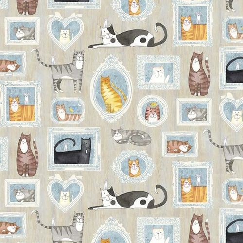 YOU HAD ME A MEOW. Estampas de gatos en fondo gris.