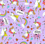 PARTY LIKE A UNICORN. Unicorns in violet backgroung.